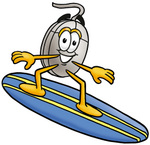 Clip Art Graphic of a Wired Computer Mouse Cartoon Character Surfing on a Blue and Yellow Surfboard