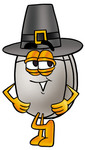 Clip Art Graphic of a Wired Computer Mouse Cartoon Character Wearing a Pilgrim Hat on Thanksgiving