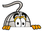 Clip Art Graphic of a Wired Computer Mouse Cartoon Character Peeking Over a Surface
