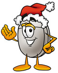 Clip Art Graphic of a Wired Computer Mouse Cartoon Character Wearing a Santa Hat and Waving