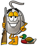Clip Art Graphic of a Wired Computer Mouse Cartoon Character Duck Hunting, Standing With a Rifle and Duck