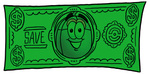 Clip Art Graphic of a Wired Computer Mouse Cartoon Character on a Dollar Bill