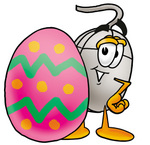 Clip Art Graphic of a Wired Computer Mouse Cartoon Character Standing Beside an Easter Egg