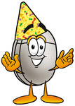 Clip Art Graphic of a Wired Computer Mouse Cartoon Character Wearing a Birthday Party Hat
