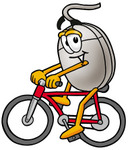 Clip Art Graphic of a Wired Computer Mouse Cartoon Character Riding a Bicycle
