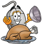 Clip Art Graphic of a Wired Computer Mouse Cartoon Character Serving a Thanksgiving Turkey on a Platter