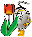 Clip Art Graphic of a Wired Computer Mouse Cartoon Character With a Red Tulip Flower in the Spring
