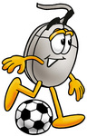 Clip Art Graphic of a Wired Computer Mouse Cartoon Character Kicking a Soccer Ball