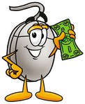 Clip Art Graphic of a Wired Computer Mouse Cartoon Character Holding a Dollar Bill