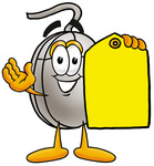 Clip Art Graphic of a Wired Computer Mouse Cartoon Character Holding a Yellow Sales Price Tag