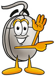 Clip Art Graphic of a Wired Computer Mouse Cartoon Character Waving and Pointing