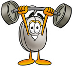 Clip Art Graphic of a Wired Computer Mouse Cartoon Character Holding a Heavy Barbell Above His Head