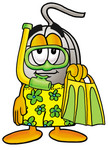Clip Art Graphic of a Wired Computer Mouse Cartoon Character in Green and Yellow Snorkel Gear