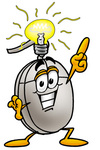 Clip Art Graphic of a Wired Computer Mouse Cartoon Character With a Bright Idea