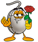 Clip Art Graphic of a Wired Computer Mouse Cartoon Character Holding a Red Rose on Valentines Day