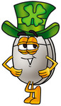 Clip Art Graphic of a Wired Computer Mouse Cartoon Character Wearing a Saint Patricks Day Hat With a Clover on it