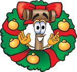 Clip Art Graphic of a Wooden Mallet Cartoon Character in the Center of a Christmas Wreath