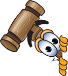 Clip Art Graphic of a Wooden Mallet Cartoon Character Peeking Around a Corner