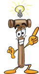 Clip Art Graphic of a Wooden Mallet Cartoon Character With a Bright Idea