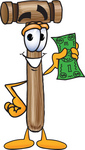 Clip Art Graphic of a Wooden Mallet Cartoon Character Holding a Dollar Bill