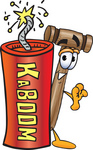 Clip Art Graphic of a Wooden Mallet Cartoon Character Standing With a Lit Stick of Dynamite