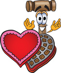 Clip Art Graphic of a Wooden Mallet Cartoon Character With an Open Box of Valentines Day Chocolate Candies