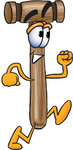 Clip Art Graphic of a Wooden Mallet Cartoon Character Running