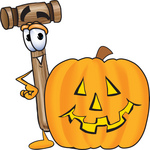 Clip Art Graphic of a Wooden Mallet Cartoon Character With a Carved Halloween Pumpkin