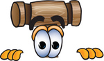 Clip Art Graphic of a Wooden Mallet Cartoon Character Peeking Over a Surface