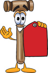 Clip Art Graphic of a Wooden Mallet Cartoon Character Holding a Red Sales Price Tag
