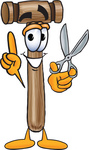 Clip Art Graphic of a Wooden Mallet Cartoon Character Holding a Pair of Scissors