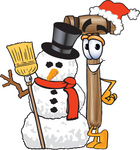 Clip Art Graphic of a Wooden Mallet Cartoon Character With a Snowman on Christmas