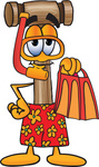 Clip Art Graphic of a Wooden Mallet Cartoon Character in Orange and Red Snorkel Gear