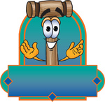 Clip Art Graphic of a Wooden Mallet Cartoon Character Label