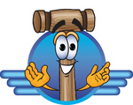 Clip Art Graphic of a Wooden Mallet Cartoon Character Logo