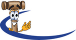 Clip Art Graphic of a Wooden Mallet Cartoon Character Logo With a Blue Dash