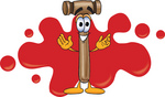 Clip Art Graphic of a Wooden Mallet Cartoon Character Logo With Red Paint Splatters