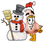 Clip Art Graphic of a Human Nose Cartoon Character With a Snowman on Christmas