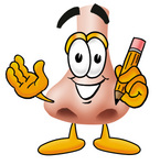Clip Art Graphic of a Human Nose Cartoon Character Holding a Pencil