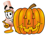 Clip Art Graphic of a Human Nose Cartoon Character With a Carved Halloween Pumpkin
