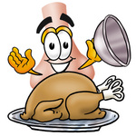 Clip Art Graphic of a Human Nose Cartoon Character Serving a Thanksgiving Turkey on a Platter