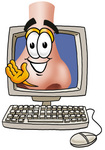 Clip Art Graphic of a Human Nose Cartoon Character Waving From Inside a Computer Screen
