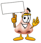 Clip Art Graphic of a Human Nose Cartoon Character Holding a Blank Sign