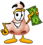 Clip Art Graphic of a Human Nose Cartoon Character Holding a Dollar Bill