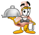 Clip Art Graphic of a Human Nose Cartoon Character Dressed as a Waiter and Holding a Serving Platter