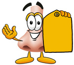 Clip Art Graphic of a Human Nose Cartoon Character Holding a Yellow Sales Price Tag
