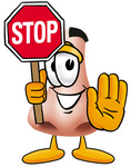 Clip Art Graphic of a Human Nose Cartoon Character Holding a Stop Sign