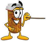Clip Art Graphic of a Medication Prescription Pill Bottle Cartoon Character Holding a Pointer Stick