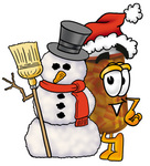 Clip Art Graphic of a Medication Prescription Pill Bottle Cartoon Character With a Snowman on Christmas