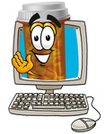 Clip Art Graphic of a Medication Prescription Pill Bottle Cartoon Character Waving From Inside a Computer Screen